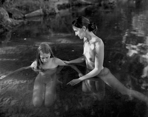 Allison and Maia; la rivière Dronne, les Peintures, France, 2001