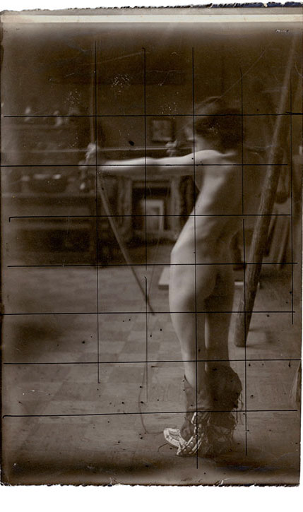 """Study for the Offices of the Canadian National Grand Trunk Railway, London, 1909, silver gelatin print with ink grid, 8 7/8 x 6 3/16"""""""