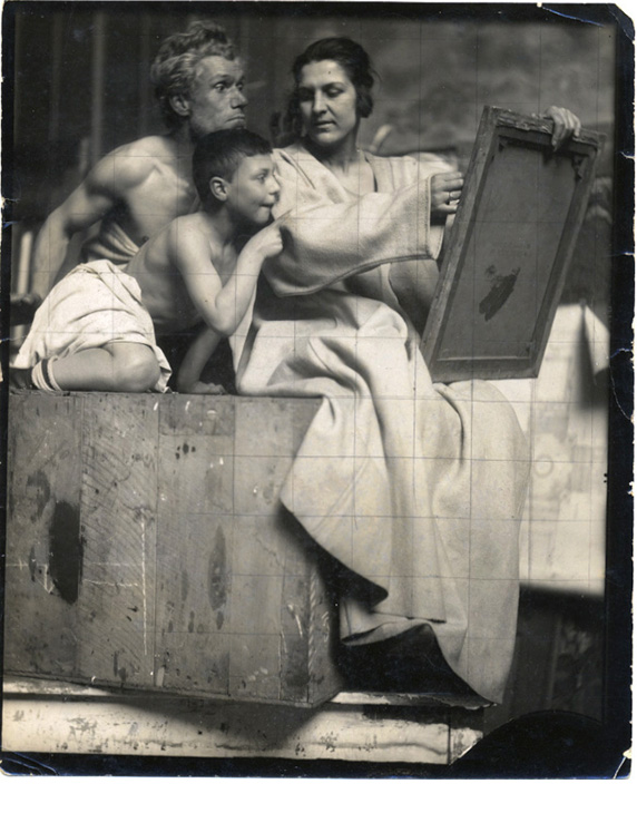"""Study for The Missouri State Capital Murals, 1914, silver gelatin print with pencil grid 8 ½ x 6 ½"""""""