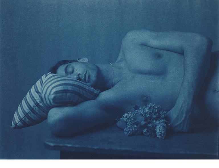 "Self Portrait for Walt Whitman with Lilacs, Morton St., NYC, 1999, Cyanotype, 11 x 14"""