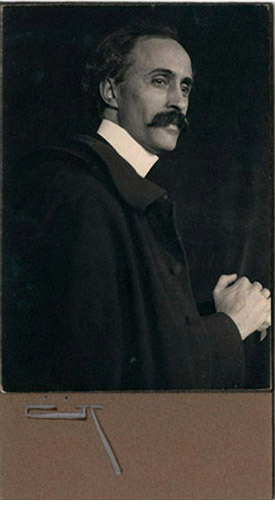 Portrait of a Man (unidentified), ca. 1901, platinum print, mounted on board, signed with monogram, 6 1/2 x 4 1/2""
