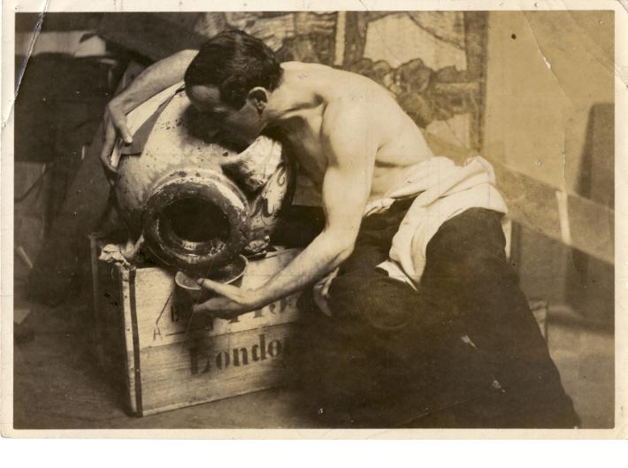 Frank Brangwyn, Man with Jug, ca. 1925, gelatin silver print with pencil grid