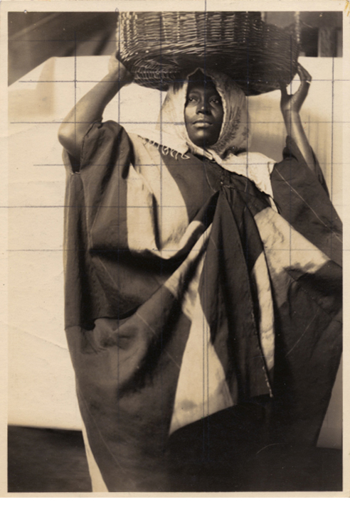 """Study for The British Empire Panels, 1925, gelatin silver print with pencil grid, 6 1/2 x 4 1/2"""""""