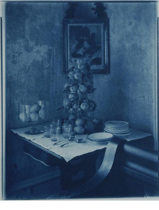 "Citrus Fruit Front Parlor, Stone Ridge, NY, 1996, Cyanotype, 10 x 8"""