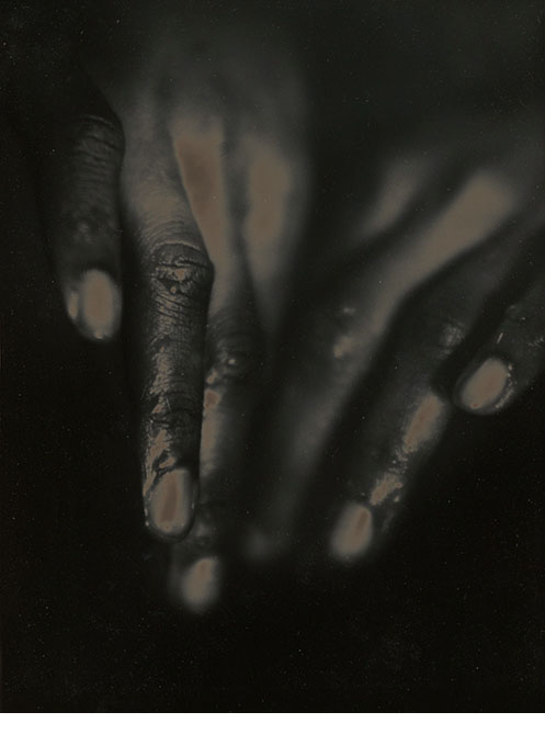 """Hands Like Winter Leaves, 19968 3/8 x 6 3/8"""", unique solarized and toned print, from an editon of 15"""