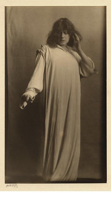 "Julia Marlow as Lady Macbeth, c. 1905, warm-toned gelatin silver print, signed on the mount below the print, 9 1/2 x 5 1/2"""