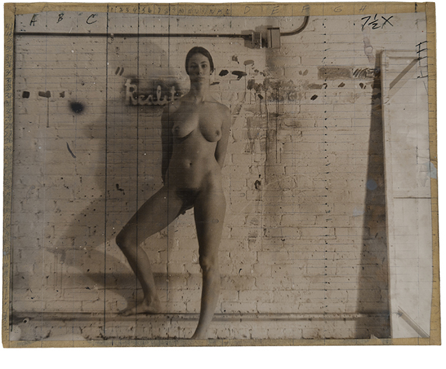 Study for painting, ca. 1970, gelatin silver print, ink, paint and masking tape, 11 x 14""