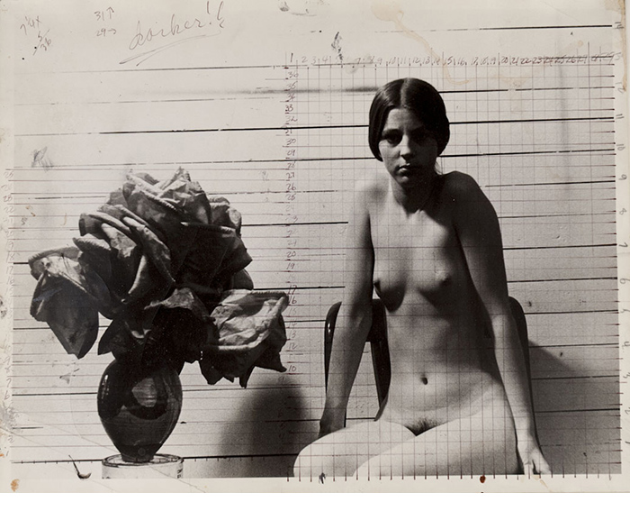 Jerry Ott, Study for painting, ca. 1970, gelatin silver print, ink, paint