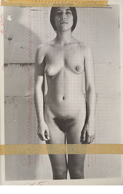 Study for painting, ca. 1968, gelatin silver print, ink, paint and masking tape