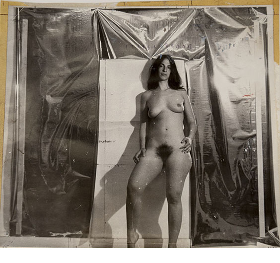 Jerry Ott, Study for painting, ca. 1970, gelatin silver print, ink, paint and masking tape