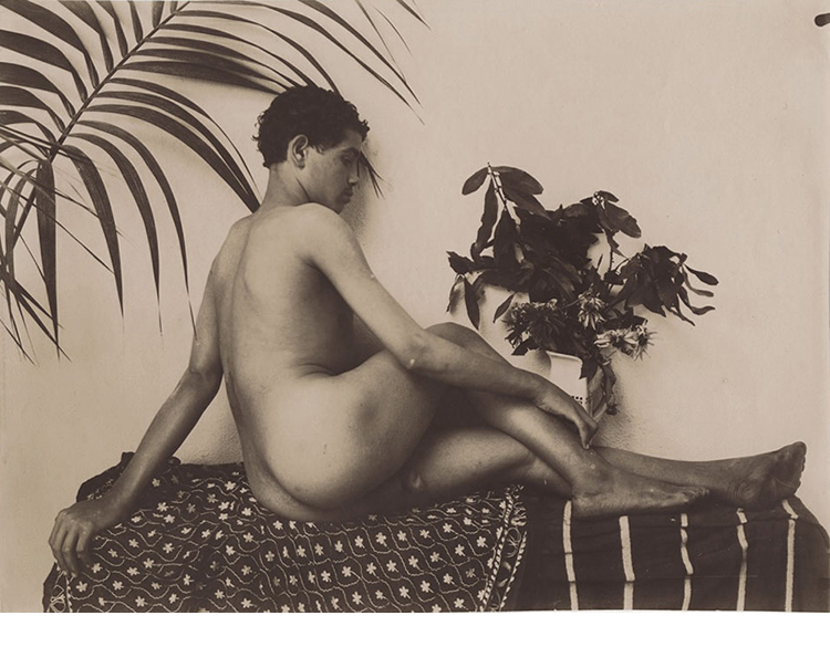 """Male Nude, c.1905, Gelatin silver toned P.O. P. print, photographer's stamp on verso, 6 1/2 x 8 7/8"""""""