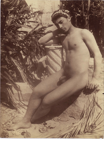 "Male Nude, c.1905, Albumen print, photographer's stamp on verso, 8 3/4 x 6 5/8"""