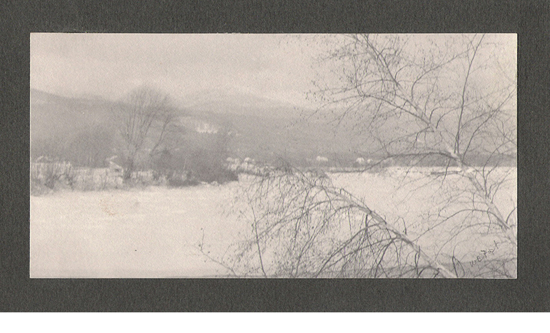 """Winter Landscape, platinum print mounted on gray card, c. 1897, signed in pencil on recto, 3 5/8 x 7 1/4"""""""